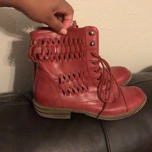 Size 10 Faux Leather Red Combat Boots